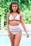 Cabana Life Bikini - Stars and Stripes women's triangle top, high-waisted mesh swimsuits, Closet Candy Boutique - Front View