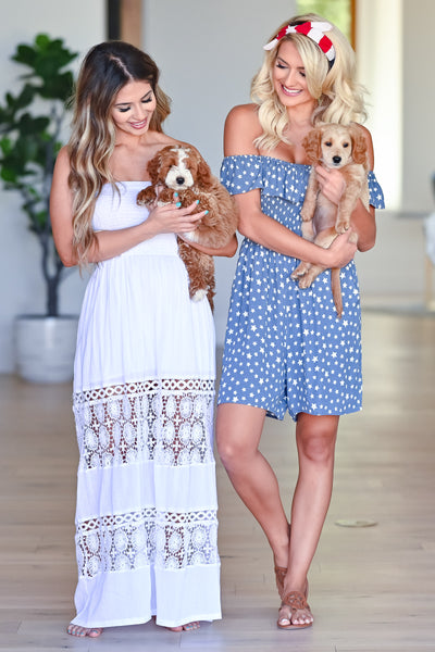 Puppies & Picnics Romper - Blue womens casual off the shoulder star printed romper closet candy both girls