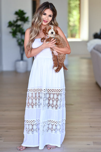 Sparks Will Fly Maxi Dress - Off White womens trendy strapless crochet detail maxi dress closet candy front 2
