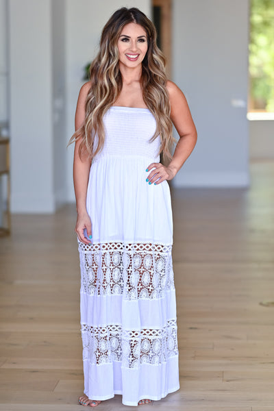 Sparks Will Fly Maxi Dress - Off White womens trendy strapless crochet detail maxi dress closet candy front 3