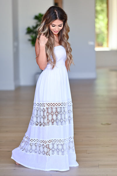 Sparks Will Fly Maxi Dress - Off White womens trendy strapless crochet detail maxi dress closet candy side