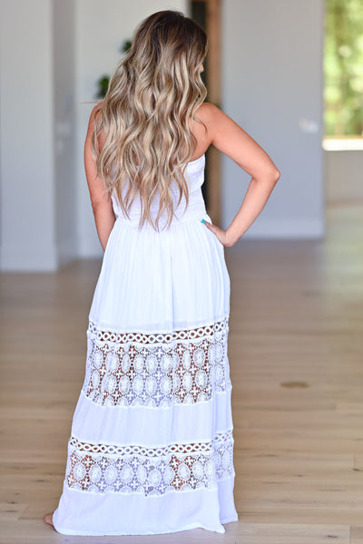 Sparks Will Fly Maxi Dress - Off White womens trendy strapless crochet detail maxi dress closet candy back