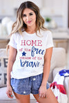 """Home of the Free"" Graphic Tee - White womens casual short sleeve graphic tee closet candy front"