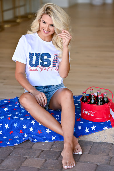 """USA Land That I Love"" Graphic Tee - White womens casual short sleeve july 4th graphic tshirt closet candy sitting"