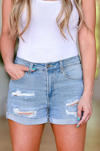 Jamie Distressed Denim Shorts - Light Wash womens casual cuffed shorts closet candy front 3