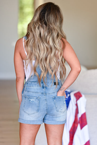 Lizzie Distressed Denim Overall Shorts - Light Wash womens casual distressed overall shorts closet candy back