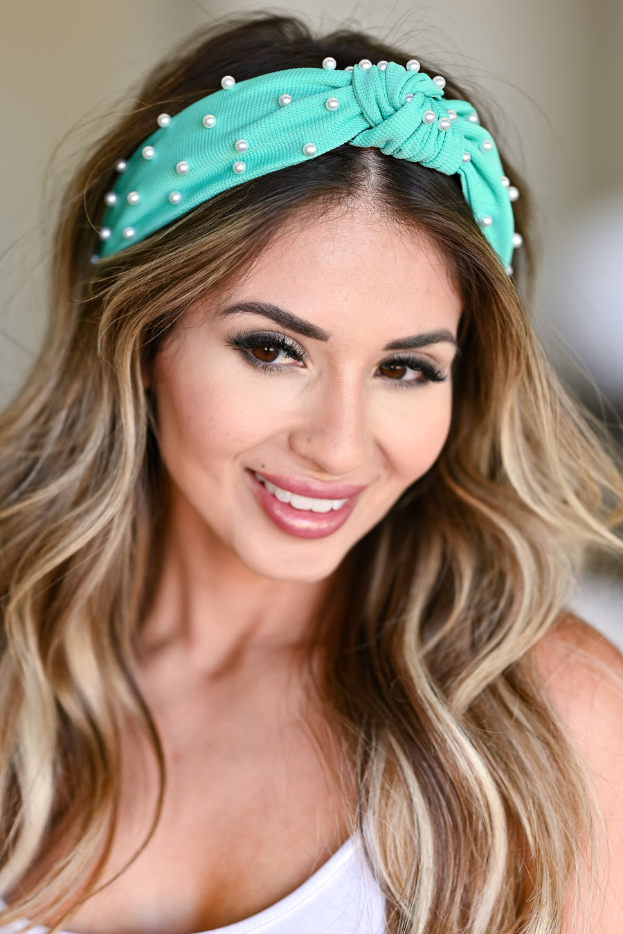 Blair Pearl Headband - Spearmint pearl top knot head band closet candy side