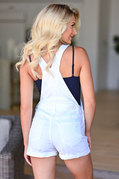 Lizzie Distressed Denim Overall Shorts - White womens casual distressed overalls closet candy back