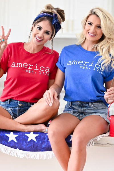 """America Est. 1776"" Graphic Tee - Red womens casual short sleeve graphic tee closet candy sitting"