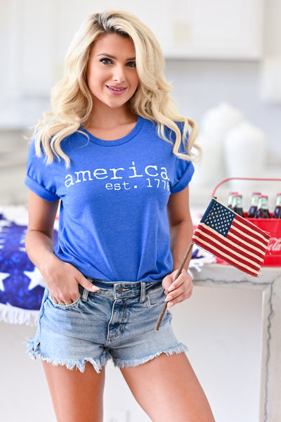 """America Est. 1776"" Graphic Tee - Blue womens casual short sleeve america tshirt closet candy front"