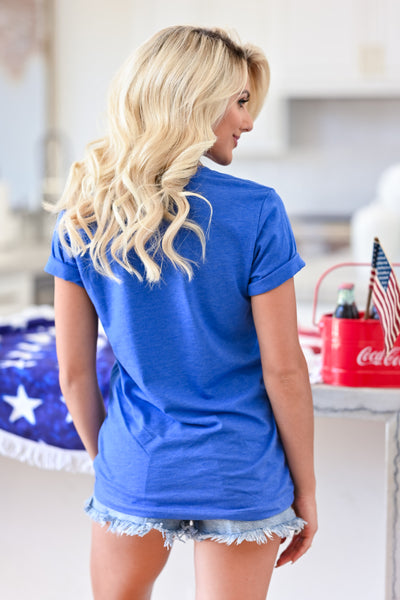 """America Est. 1776"" Graphic Tee - Blue womens casual short sleeve america tshirt closet candy back"