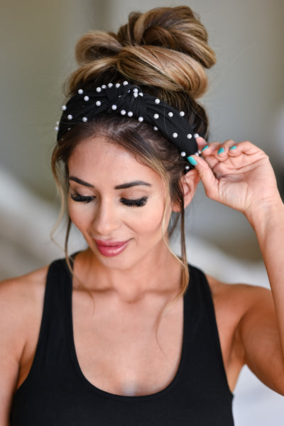 Blair Pearl Headband - Black womens trendy top knot pearl detail headband closet candy front