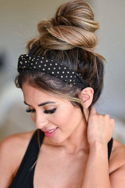 Star Dazed Headband - Black womens trendy top knot star detail headband side 2