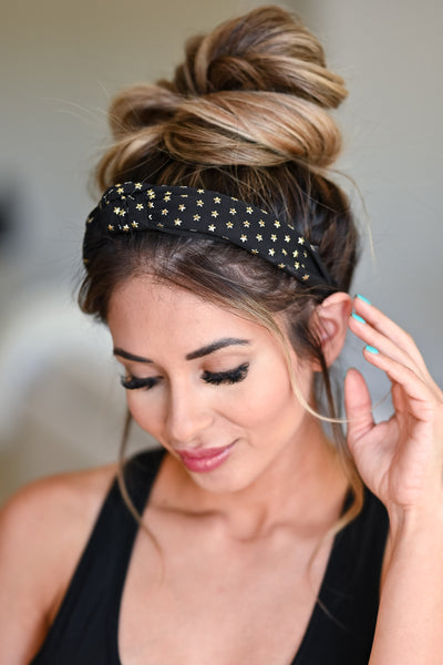 Star Dazed Headband - Black womens trendy top knot star detail headband side
