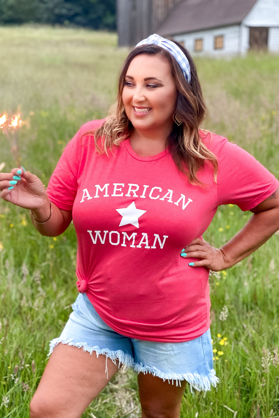 """American Woman"" Graphic Tee - Red womens casual short sleeve july 4th tshirt closet candy front"