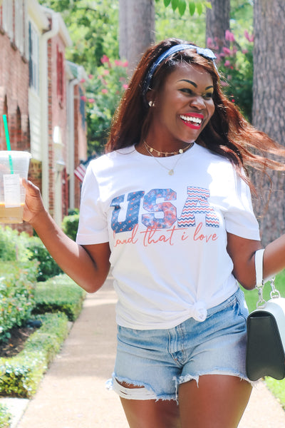 """USA Land That I Love"" Graphic Tee - White womens casual short sleeve july 4th graphic tshirt closet candy Jenn"