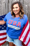 """USA"" Varsity Graphic Tee - Blue womens casual short sleeve USA july 4th tshirt closet candy Amber"