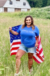 """America Est. 1776"" Graphic Tee - Blue womens casual short sleeve america tshirt closet candy Amber"