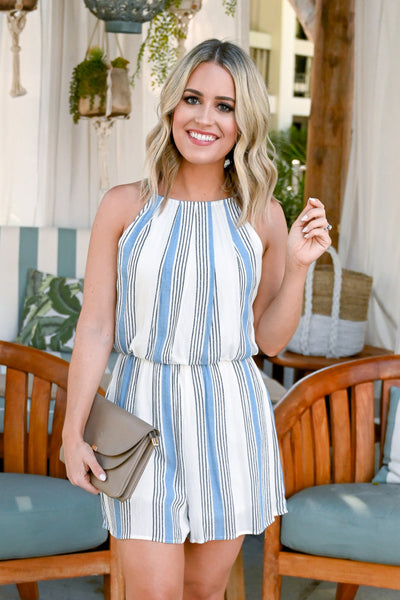 Meet Me In Miami Romper - Blue and white women's striped halter romper, Closet Candy Boutique 2