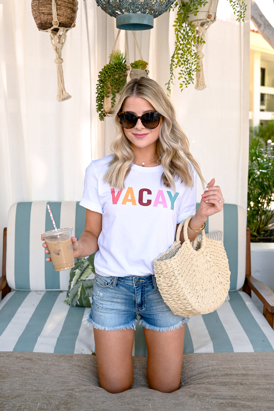 """Vacay"" Graphic Tee - White women's colorful graphic t-shirt, Closet Candy Boutique 1"