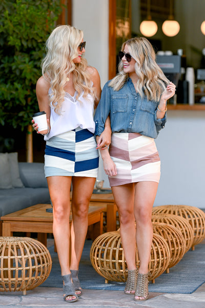 Day To Night Color Block Skirt - Blush women's chevron print mini skirt, Closet Candy Boutique 2