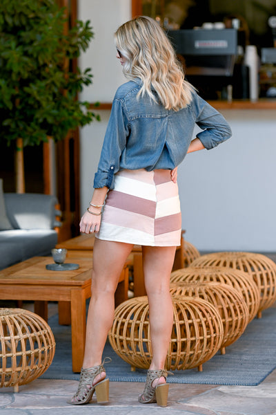 Day To Night Color Block Skirt - Blush women's chevron print mini skirt, Closet Candy Boutique 4