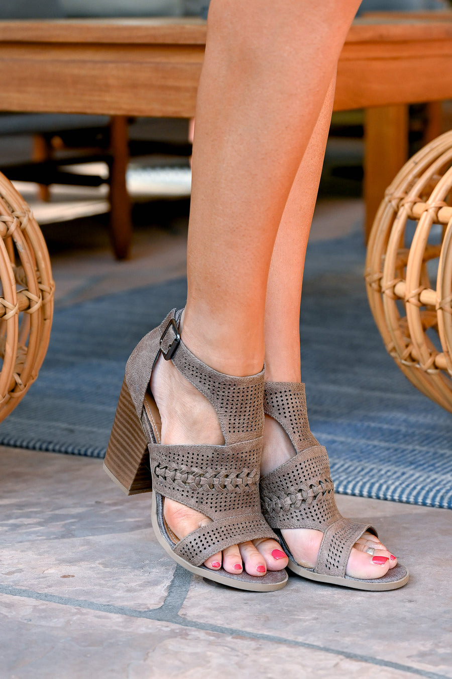 Kira Peep Toe Heels - Grey women's laser-cut out, braided sandals, Closet Candy Boutique 1