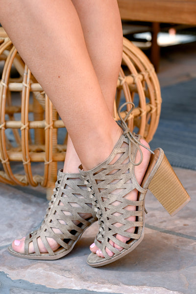 Hadley Peep Toe Heels - Taupe women's laser-cut out sandals, Closet Candy Boutique 1