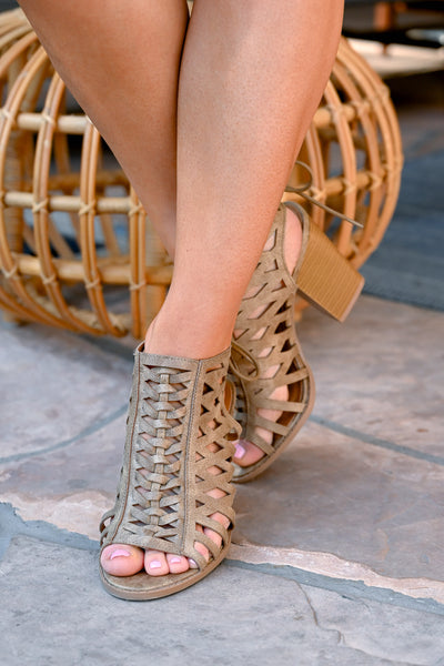 Hadley Peep Toe Heels - Taupe women's laser-cut out sandals, Closet Candy Boutique 3