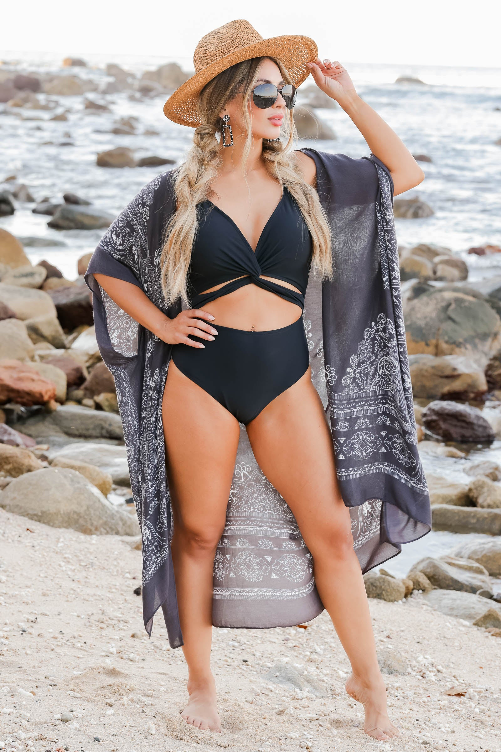 Catch Waves, Not Feelings Swimsuit - Black closet candy womens trendy twist front cutout one piece swimsuit front