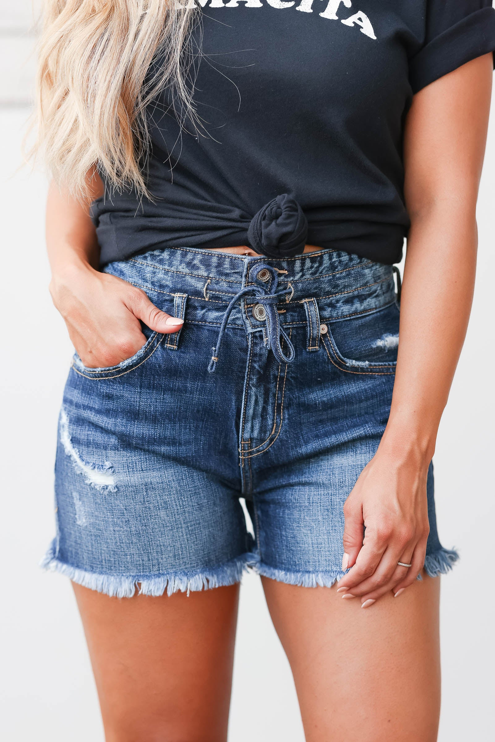 KAN CAN Adriana Denim Shorts - Dark Wash closet candy womens trendy high rise raw hem jean shorts with drawstring front