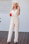 CBRAND Margaritas at Sunset Jumpsuit - Oatmeal closet candy women's trendy sleeveless woven jumpsuit front