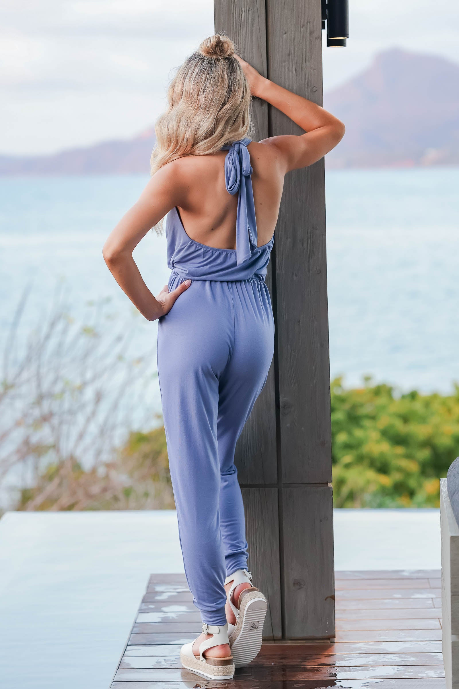 CBRAND In High Demand Jumpsuit - Dusty Blue closet candy womens trendy halter neck jumpsuit front