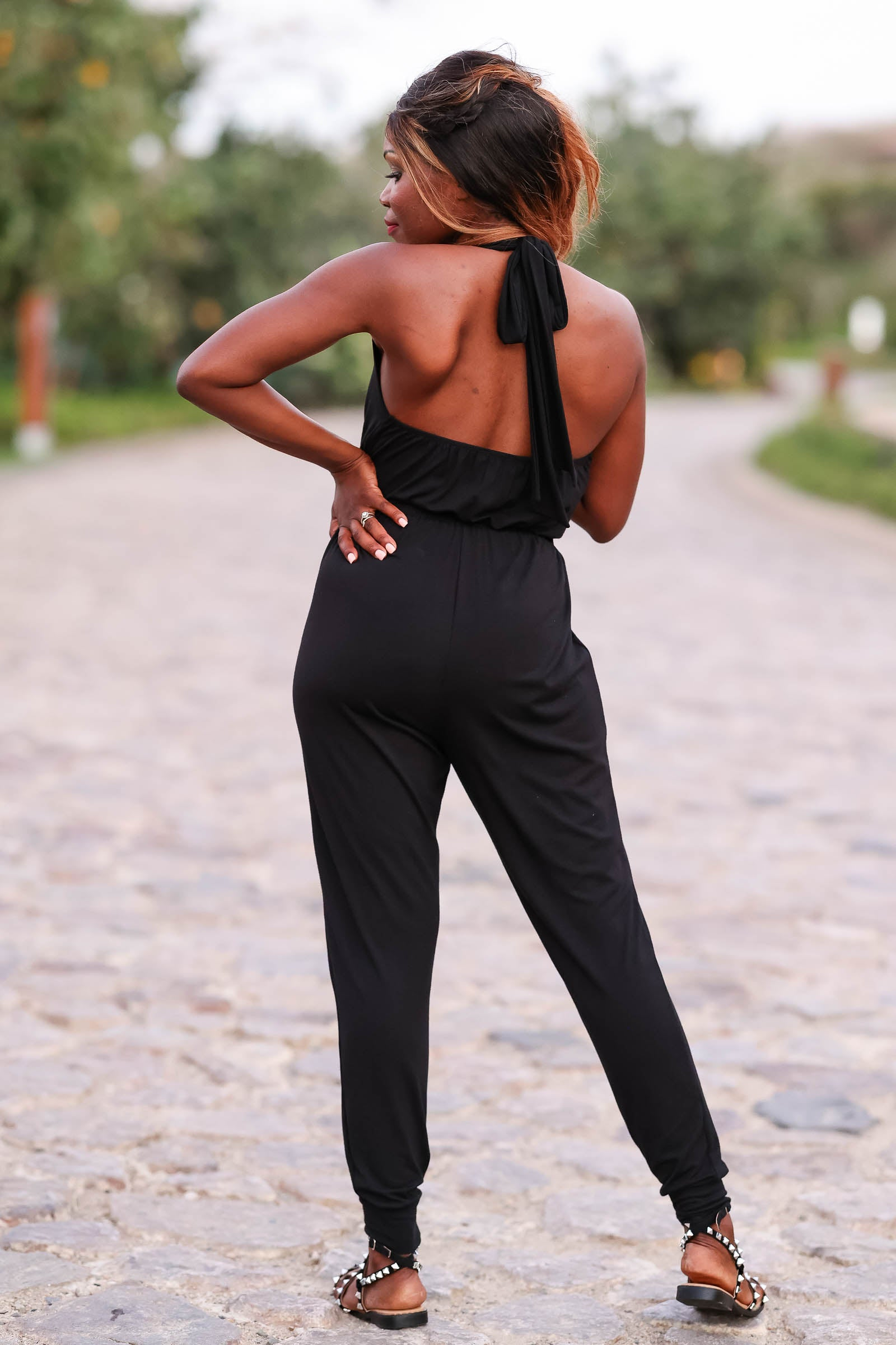 CBRAND In High Demand Jumpsuit - Black closet candy womens trendy open back halter neck jumpsuit front