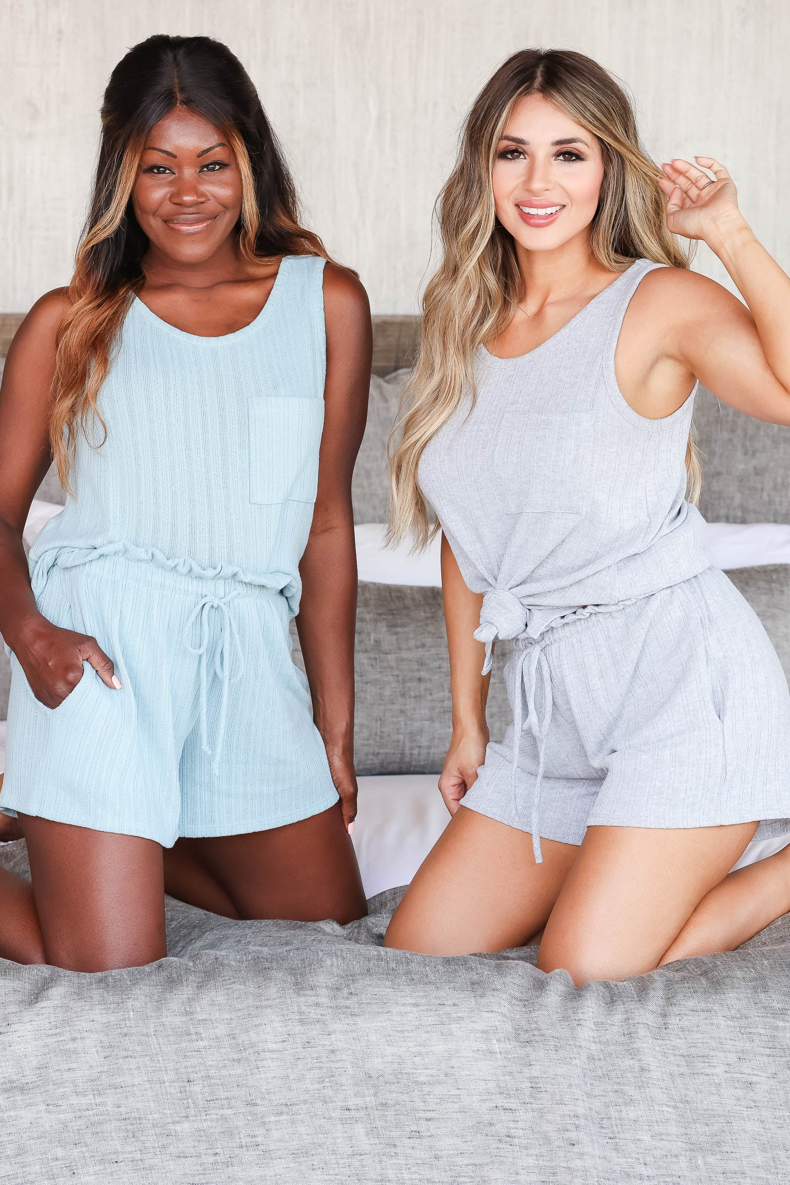 CBRAND Kickin' It Just For You Loungewear - Blue closet candy women's trendy matching loungewear tank top and shorts sitting