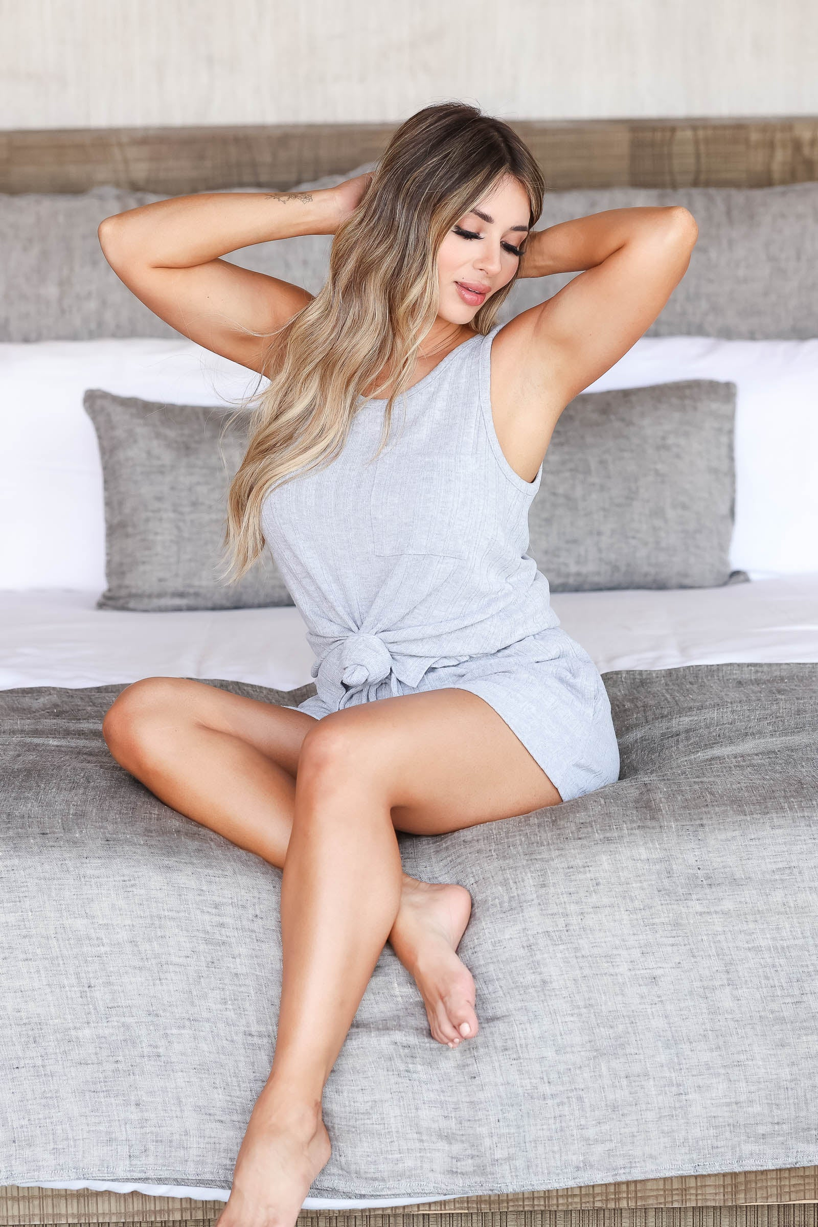 CBRAND Kickin' It Just For You Loungewear - Heather Grey closet candy women's trendy matching loungewear tank top and shorts sitting