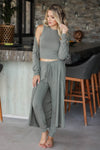 CBRAND Lap of Luxury Loungewear - Olive closet candy womens trendy matching knit loungewear front