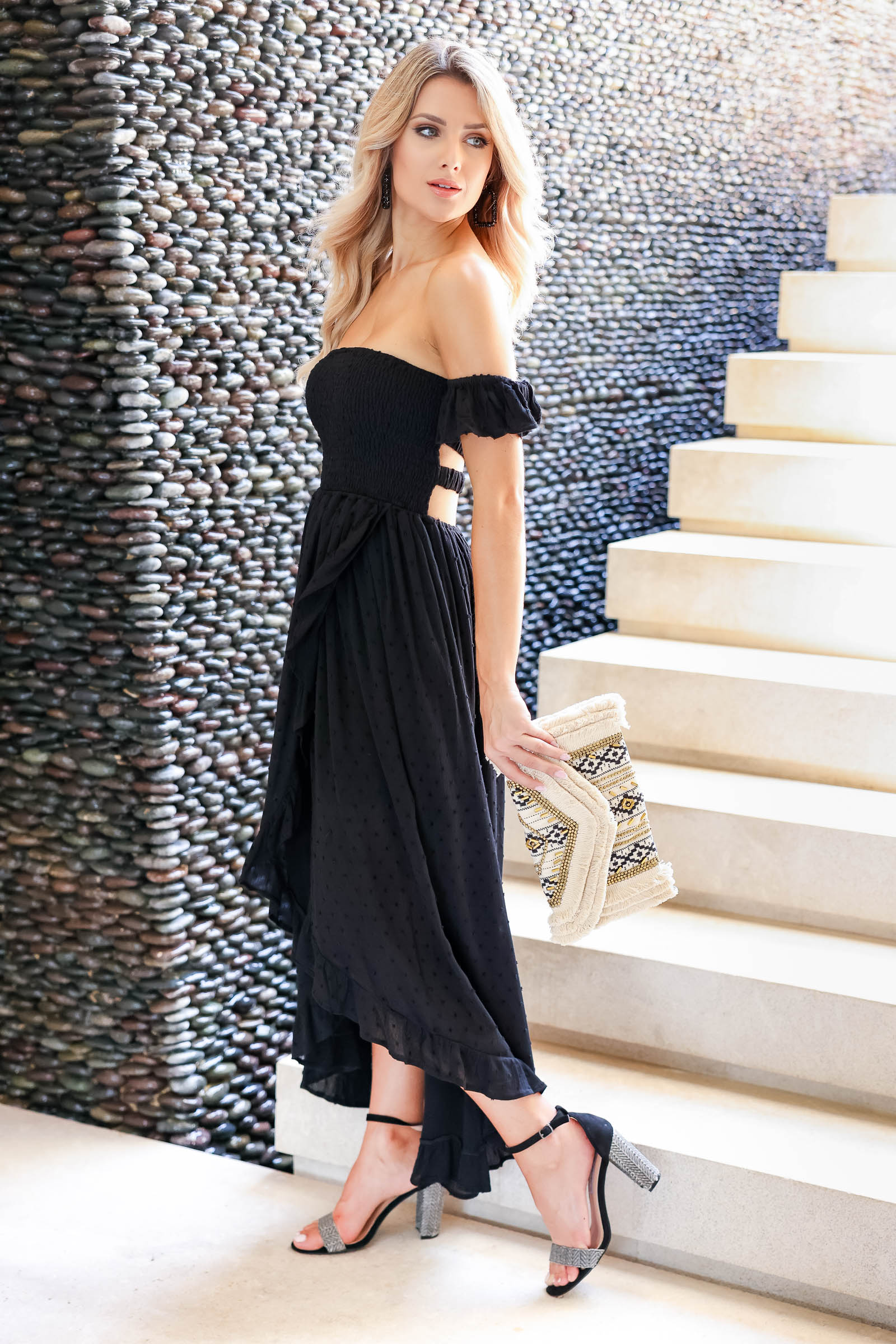 CBRAND Spring Into Style Maxi Dress - Black closet candy women's trendy textured high low off the shoulder maxi dress side