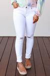 KAN CAN Raw Hem Jeans - White closet candy women's trendy mid rise distressed raw hem skinny jeans front