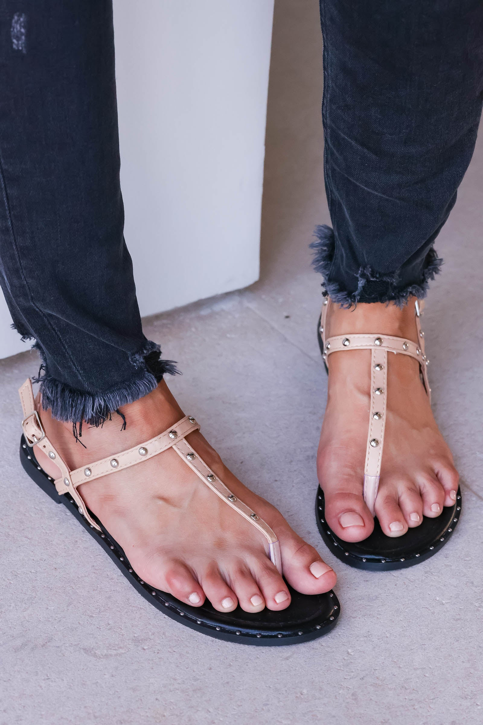 Poppy Studded Sandal - Taupe closet candy womens trendy studded thong sandals 1