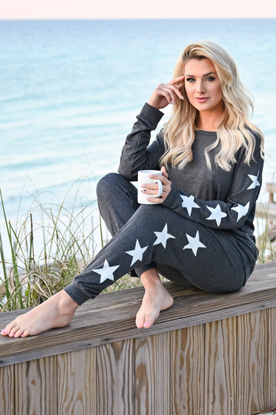 Under The Stars Lounger Set - Charcoal womens casual star print long sleeve lounge set closet candy sitting 2