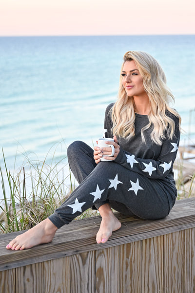 Under The Stars Lounger Set - Charcoal womens casual star print long sleeve lounge set closet candy sitting