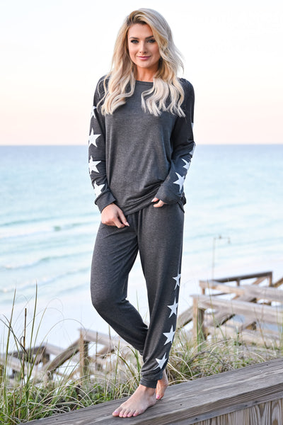 Under The Stars Lounger Set - Charcoal womens casual star print long sleeve lounge set closet candy front