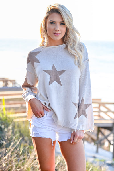 Beachy Nights Star Sweater - Cream womens casual star pattern long bell sleeves closet candy front
