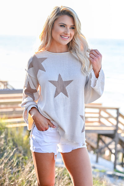 Beachy Nights Star Sweater - Cream womens casual star pattern long bell sleeves closet candy front 3