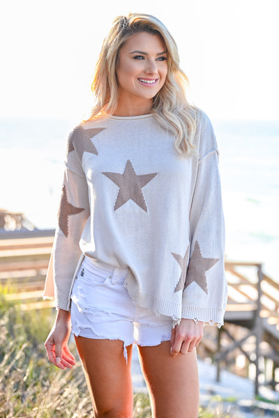 Beachy Nights Star Sweater - Cream womens casual star pattern long bell sleeves closet candy front 4