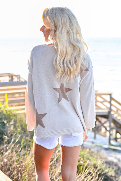Beachy Nights Star Sweater - Cream womens casual star pattern long bell sleeves closet candy back