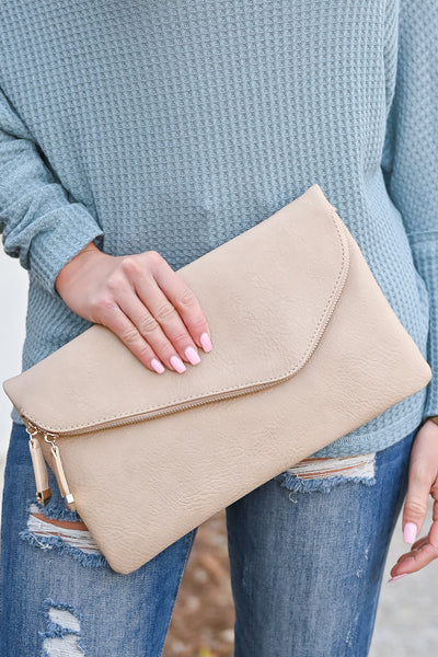 Jessica Vegan Leather Clutch - Nude womens trendy envelope style zipper clutch closet candy front 2