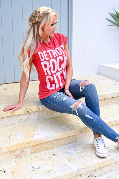 Detroit Rock City Graphic Tee - Red womens casual fitted short sleeve graphic tee closet candy sitting