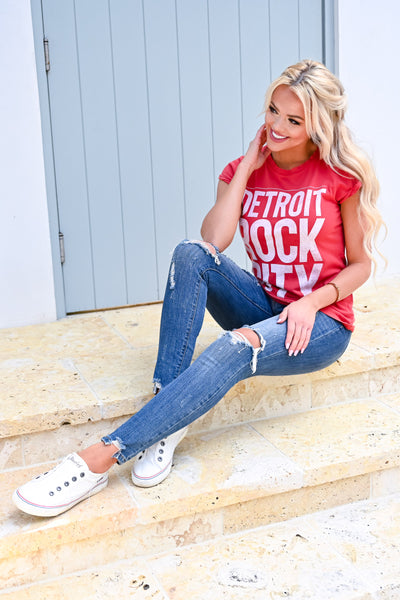 Detroit Rock City Graphic Tee - Red womens casual fitted short sleeve graphic tee closet candy sitting 2